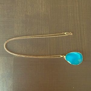 Jewelry - Natural blue stone necklace with golden chain.